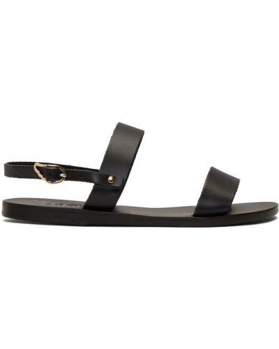 Skórzany czarny sandały grecki z klamrą na pięcie Ancient Greek Sandals