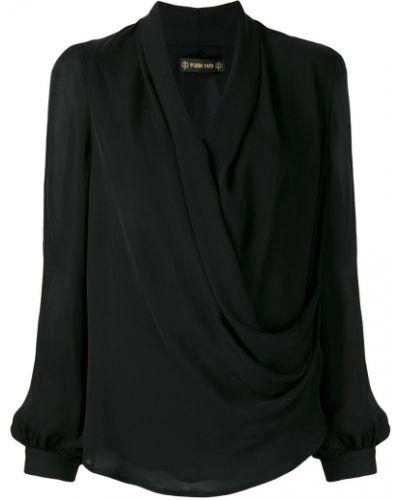 Блузка с длинным рукавом с запахом черная Plein Sud
