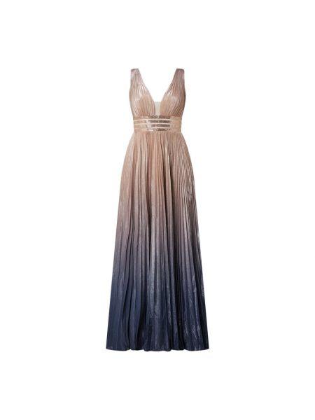 Różowa sukienka wieczorowa rozkloszowana z szyfonu Luxuar