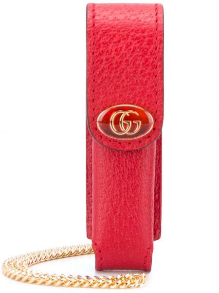 Золотистая кожаная красная губная помада с декоративной отделкой Gucci