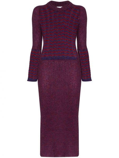 Фиолетовое приталенное платье с вырезом Asai