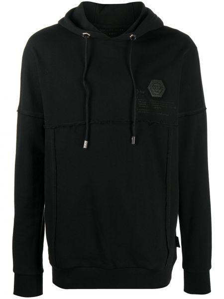 Bawełna z rękawami czarny bluza z kapturem Philipp Plein