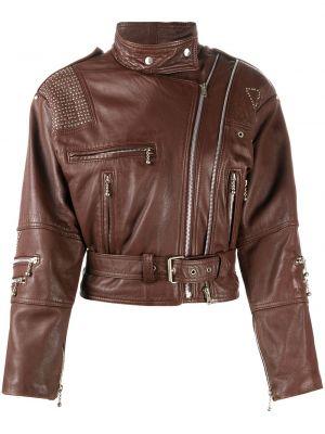 Коричневая кожаная куртка на молнии A.n.g.e.l.o. Vintage Cult