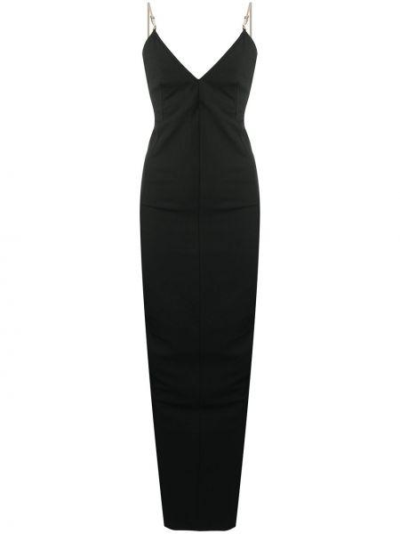 Czarny z paskiem długo sukienka na paskach z wiskozy Rick Owens