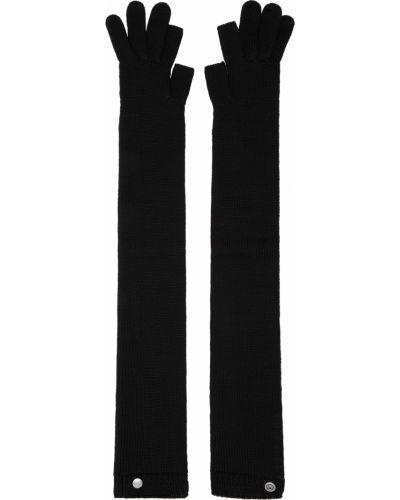 Czarne rękawiczki bez palców wełniane Rick Owens
