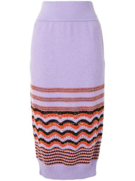 Фиолетовая с завышенной талией юбка миди с поясом из альпаки Coohem
