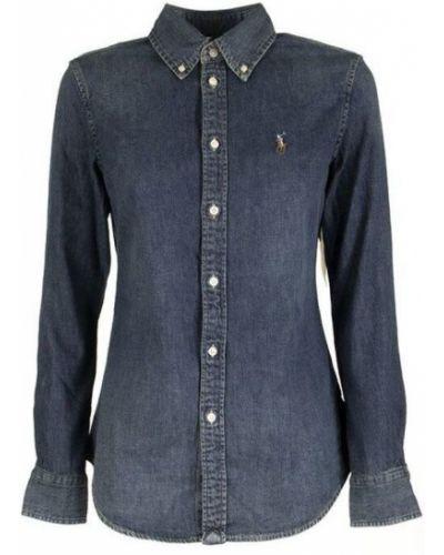 Niebieski t-shirt z długimi rękawami z haftem Ralph Lauren