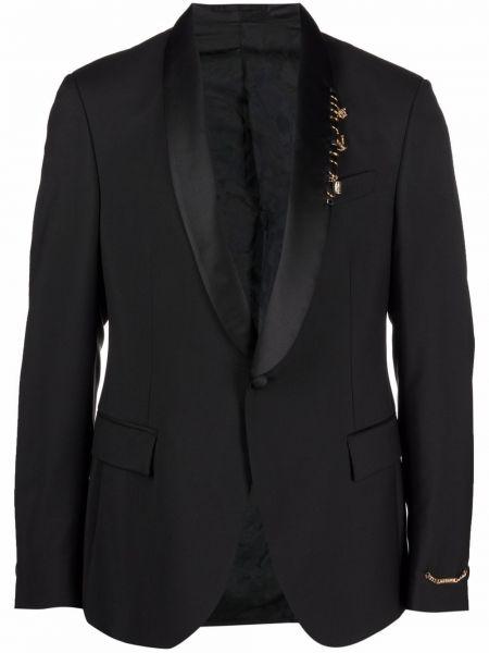 Хлопковый черный костюм на пуговицах Versace