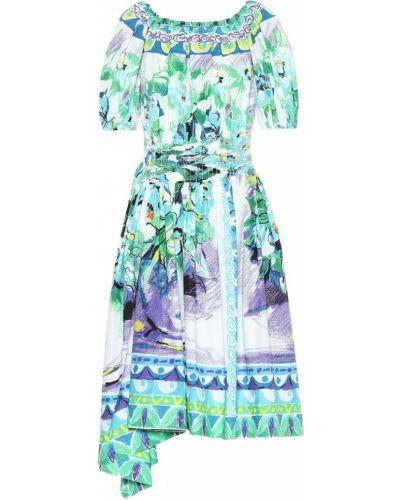 Летнее платье с цветочным принтом из поплина Prada