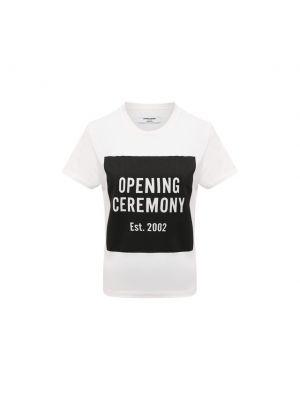 Хлопковая футболка - белая Opening Ceremony