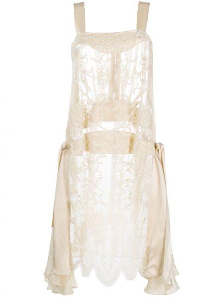 Шелковое платье миди прозрачное без рукавов Antonio Marras