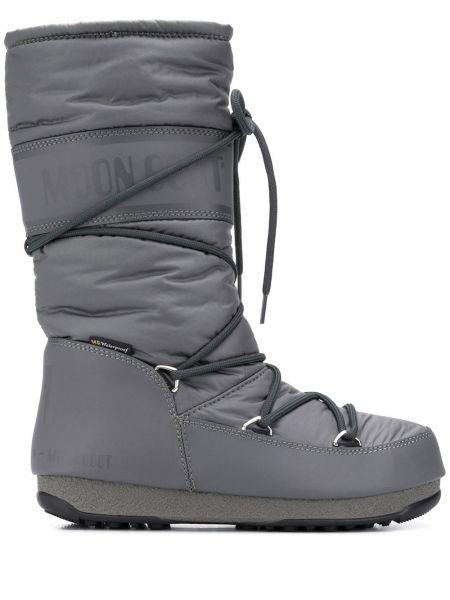 Ботильоны на шнуровке - серые Moon Boot