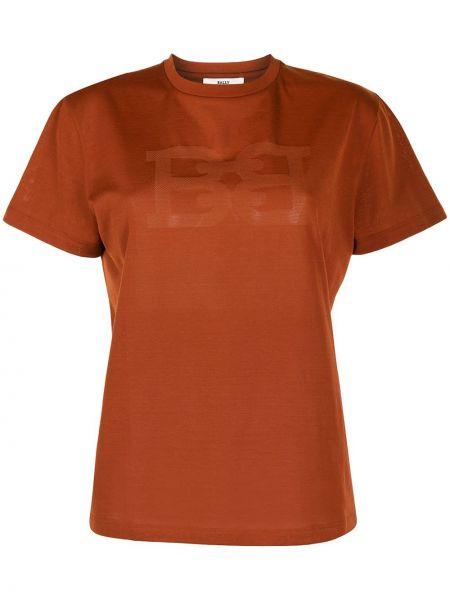 Хлопковая оранжевая прямая футболка Bally