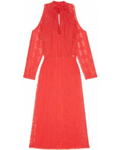 Хлопковое красное платье миди с разрезом Laroom
