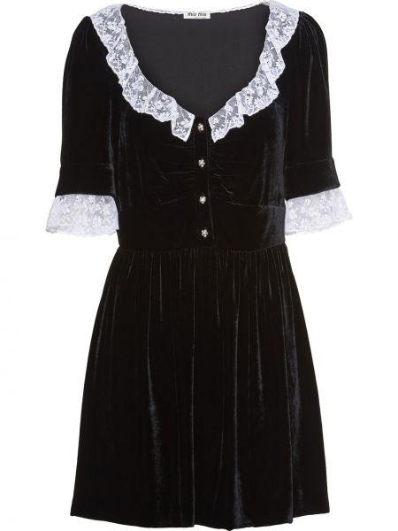 Шелковое черное ажурное платье мини на пуговицах Miu Miu