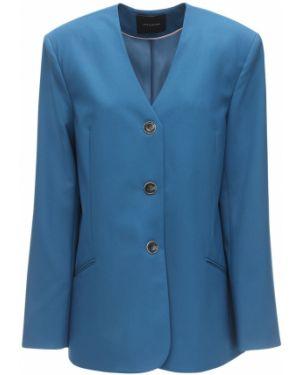 Шерстяной бирюзовый пиджак с карманами с декольте Lesyanebo
