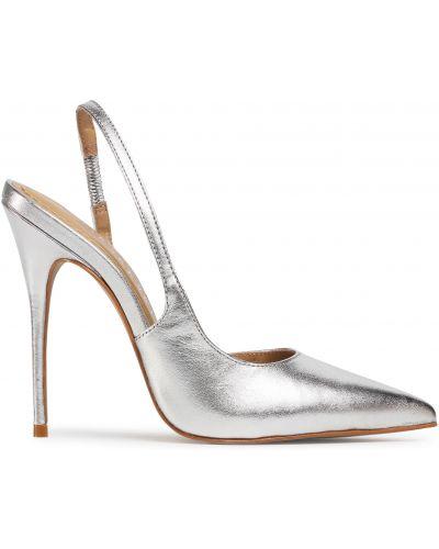 Босоножки на каблуке - серебряные Eva Longoria