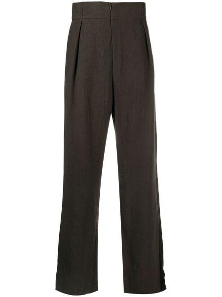 Прямые коричневые льняные прямые брюки с карманами Cherevichkiotvichki