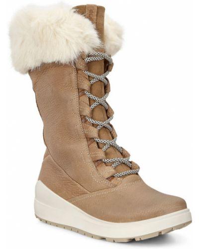 Зимние ботинки на шнуровке на каблуке Ecco