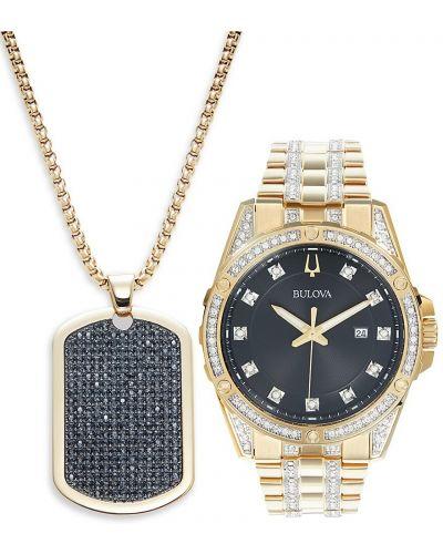 Czarny zegarek kwarcowy srebrny kwarc Bulova