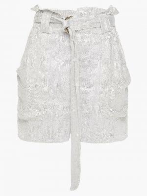 Серебряные шорты с карманами с пайетками Iro