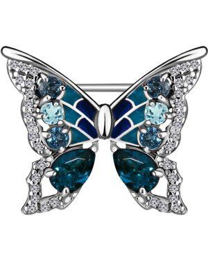Серебряная брошь с камнями синяя Aquamarine