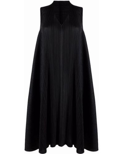 Черное платье с V-образным вырезом без рукавов Pleats Please Issey Miyake