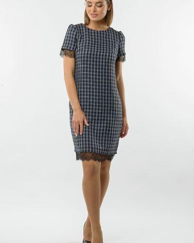 Кружевное с рукавами платье-футляр в клетку Remix