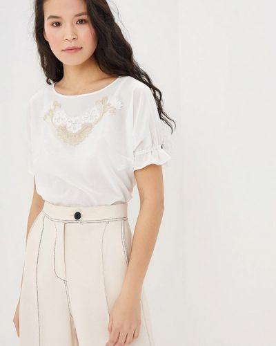 Блузка с коротким рукавом белая Арт-Деко