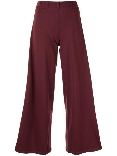 Хлопковые красные расклешенные свободные брюки Ea7 Emporio Armani