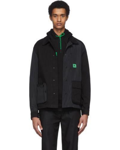 Czarna długa kurtka bawełniana z długimi rękawami Rochambeau
