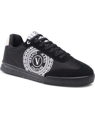 Czarne półbuty zamszowe Versace Jeans Couture