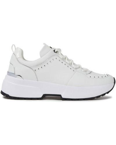 Кожаные белые кроссовки на шнурках Michael Michael Kors