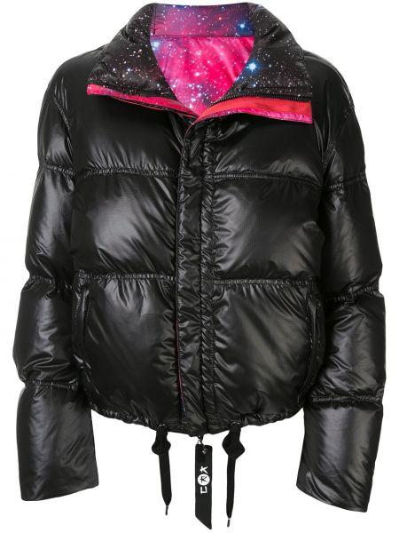 Черная куртка двусторонняя на молнии с воротником Kru