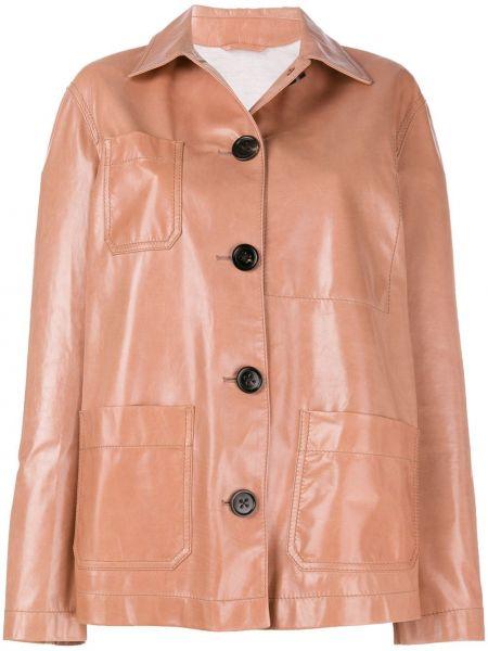 Кожаная куртка оверсайз - бежевая Bottega Veneta