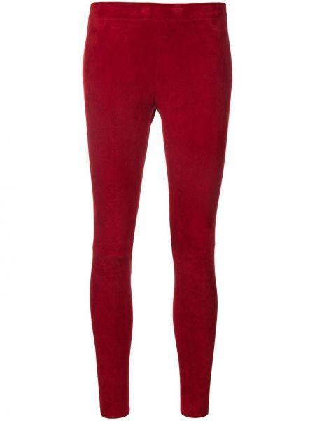 Красные облегающие кожаные леггинсы Stouls