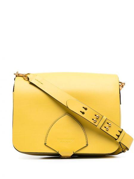 Желтая кожаная косметичка с карманами Burberry
