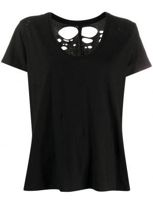 Хлопковая черная футболка с короткими рукавами с вырезом Unravel Project