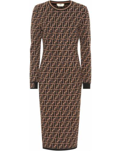 Платье миди из вискозы вязаное Fendi