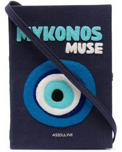 Niebieska kopertówka bawełniana z printem Olympia Le-tan