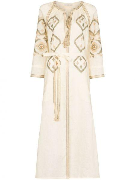 Белое платье миди с вышивкой Vita Kin
