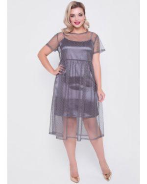 Платье мини в горошек платье-комбинация тм леди агата