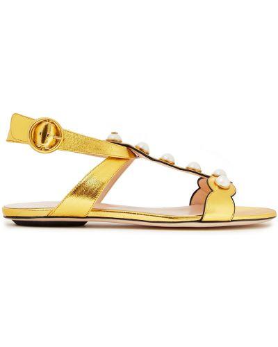 Złote sandały perły Gucci