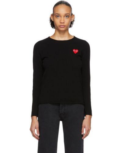 Czarny długi sweter z kołnierzem z łatami z długimi rękawami Comme Des Garcons Play