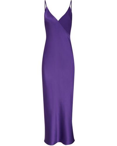 Фиолетовое шелковое платье миди с декольте Lesyanebo