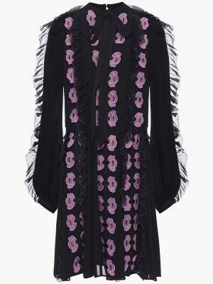 Шифоновое черное платье мини с подкладкой Temperley London