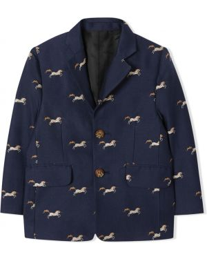 Шелковый пиджак на пуговицах с подкладкой с вышивкой Burberry Kids