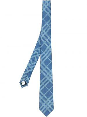Синяя шелковая резинка для волос с рисунком Burberry