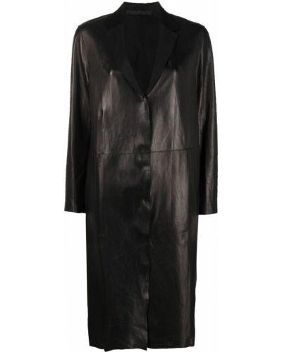 Кожаное черное длинное пальто на пуговицах Salvatore Santoro