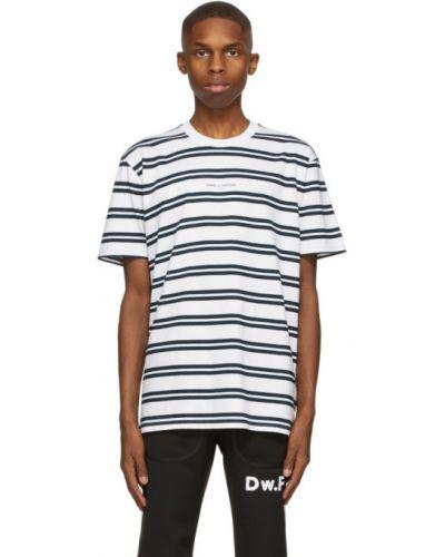 Biały t-shirt w paski bawełniany Daniel W. Fletcher